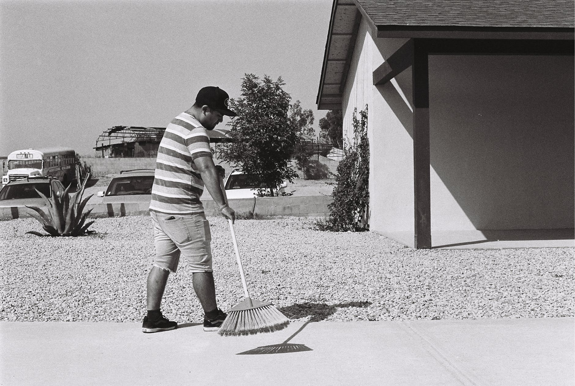 boy cleaning