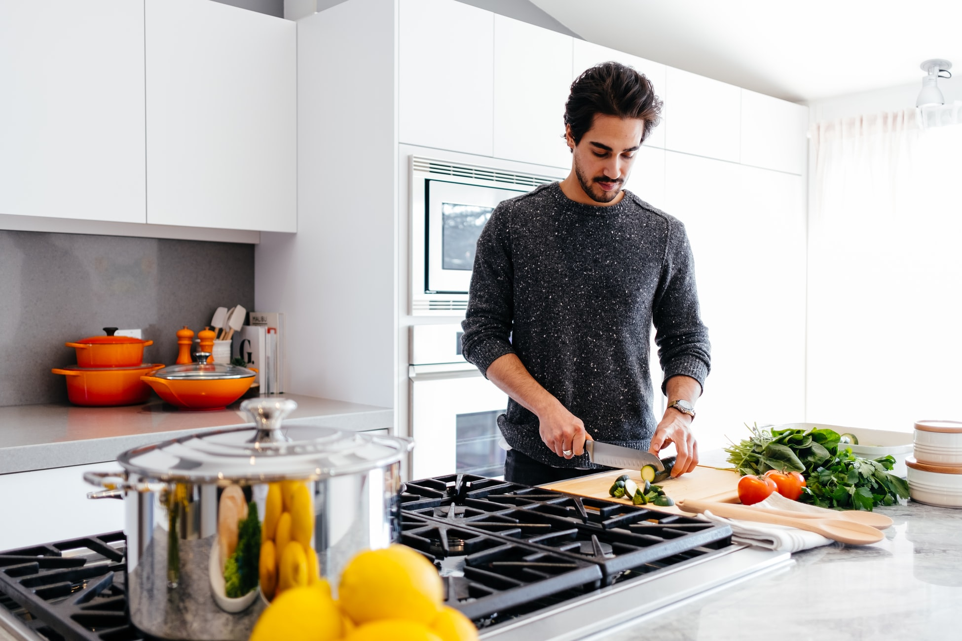 guy preparing ingredients